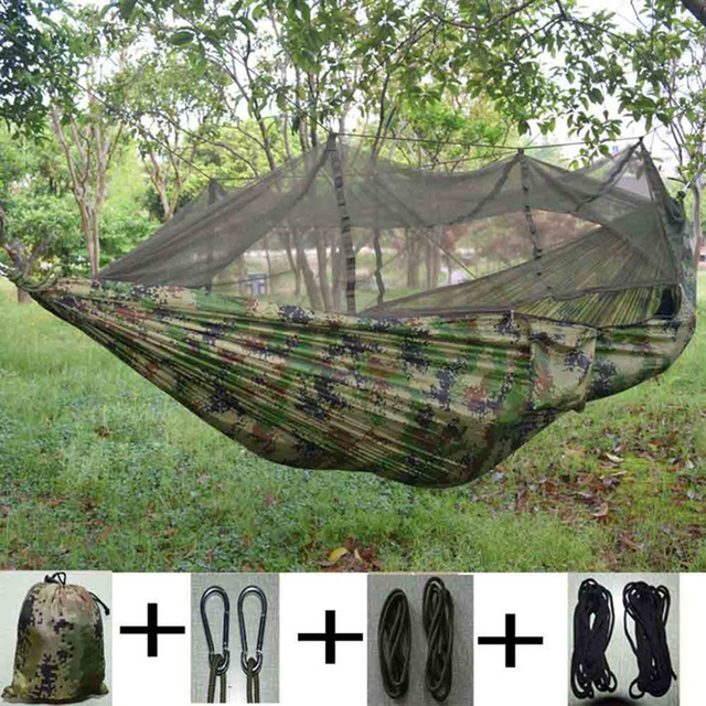 Portable Mosquito Camouflage Hammock Tent Lightweight Compact Travel Bed Parachute Fabric Double tent For Backpacking Hiking & Portable Mosquito Camouflage Hammock Tent Lightweight Compact ...