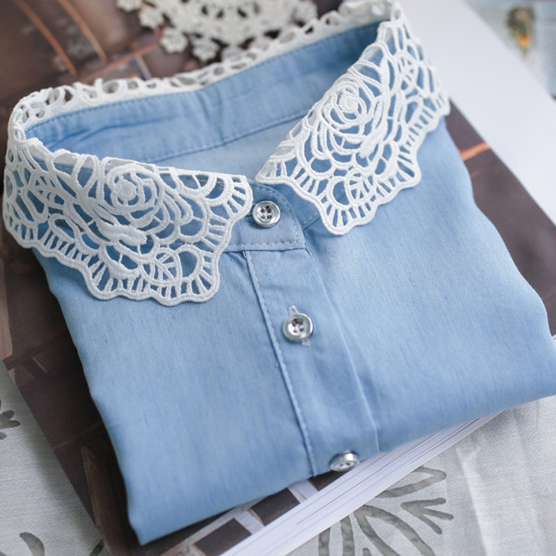 Embroidery Flowers Pearl Lace Half Shirt Collar necklace for women accessary Light Cowboy Hollow Rose Shirt Lingerie Fake Collar