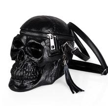 ФОТО messenger bags creative skull models personality funny skull black shoulder bag pu material silicone messenger bag