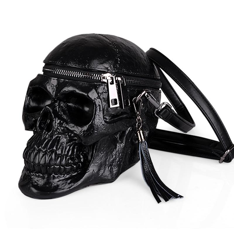 Sac pour filles Cool sac en cuir gothique Messenger sac noir crâne sac à bandoulière décontracté spécial PU cuir