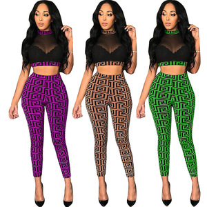 Image 2 - See through Sexy Two Piece Set Women Transparent Mesh Crop Top and Pencil Pants Suit Party Club Wear 2 Piece Outfits