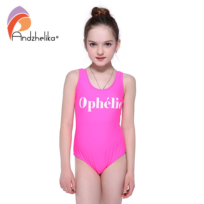 все цены на Andzhelika Girls Swimwear One Piece Print Letter Sports Bodysuit Backless Girls Beach Bathing Suit Children Swimming Suit AK8023