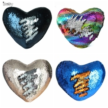 ФОТО new heart shape mermaid pillow case cover sequins color changing cushion cover decorative pillows pillowcase for sofa home decor
