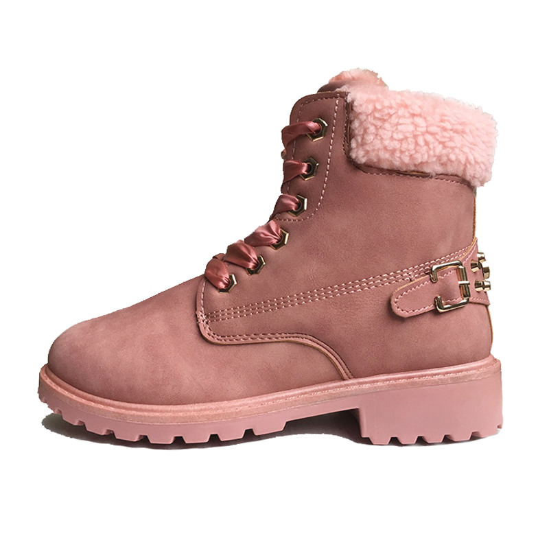 2018 Winter Shoes Women Snow Boots Thick Plush Warm Shoes for Cold Winter Fashion Women's Boots Ladies Ankle Botas Pink ZH2448 1