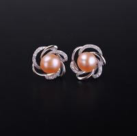 925 Silver Pearl Earring 100 Natural Freshwater Pearl Earring For Women Engagement Earring White Pink Purple