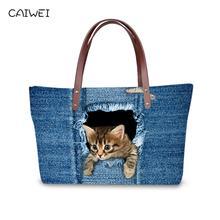 Купить с кэшбэком Luxury Handbags Women Bags Designer Blue Jean Handbag Top Quality Women Messenger Bags Cute Animal Cat Bolsas Large Travel Bags