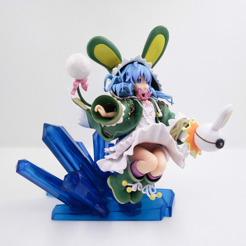 Date A Live Japanese PLUM Hermit Four Series Is A Recluse Green Rabbit Sitting Posture Figure Model Collection Ornaments