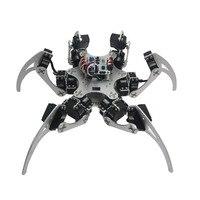 Assembled 18DOF Aluminium Hexapod Spider Six Legs Robot Kit With LD 1501 Servos Controller Silver