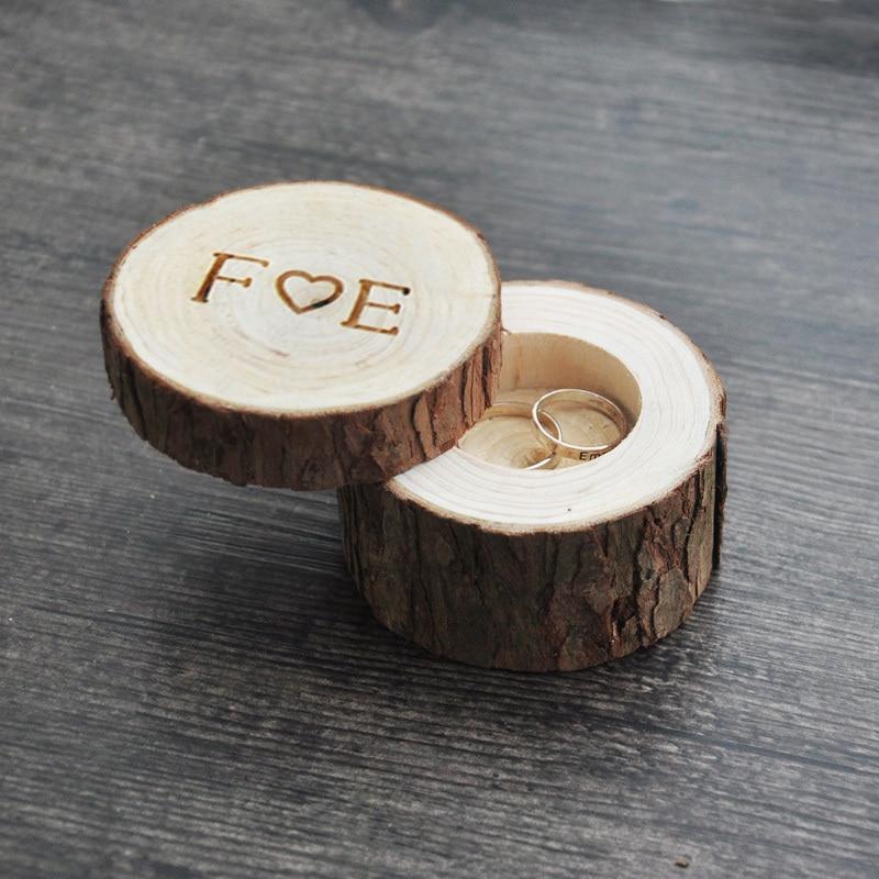 Box Anello personalizzato nozze/san valentino anello di legno scatola di Legno Contenitore di Anello di Anniversario 4 stili
