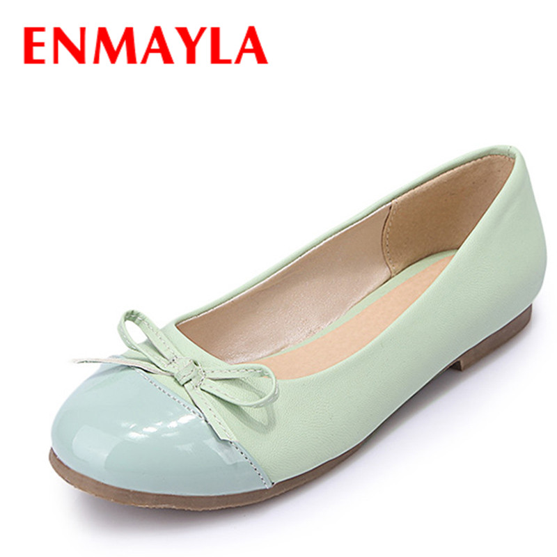 ENMAYER round toe 2015 women flats Shoes big size 34-43 bowtie fashion casual ballerina shoes high quality