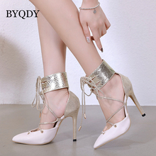 BYQDY Woman Sandal Sexy Bling Gladiator Summer Boots Lady Shoes Lace-Up High Heels Sandals bota feminina 2019 New