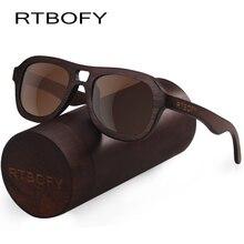 RTBOFY Holz Sonnenbrille für Männer & Frauen Bambusrahmen Eyeglasse Polarisierte Objektivgläser Vintage Design Shades UV400 Schutz