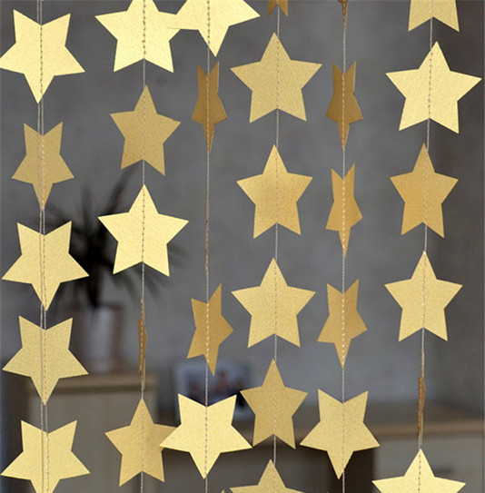 4m Gold Star Garlands Wedding Birthday Baby Showers Party Home Room Decoration For Windows Doorway Ceiling Decorations