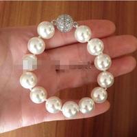Vận chuyển miễn phí hot Phụ Nữ bán Bridal Wedding Trang Sức>> 12 MÉT Round South Sea Shell Ngọc Trai Bracelet Pha Lê Nam Châm Clasp Lắc