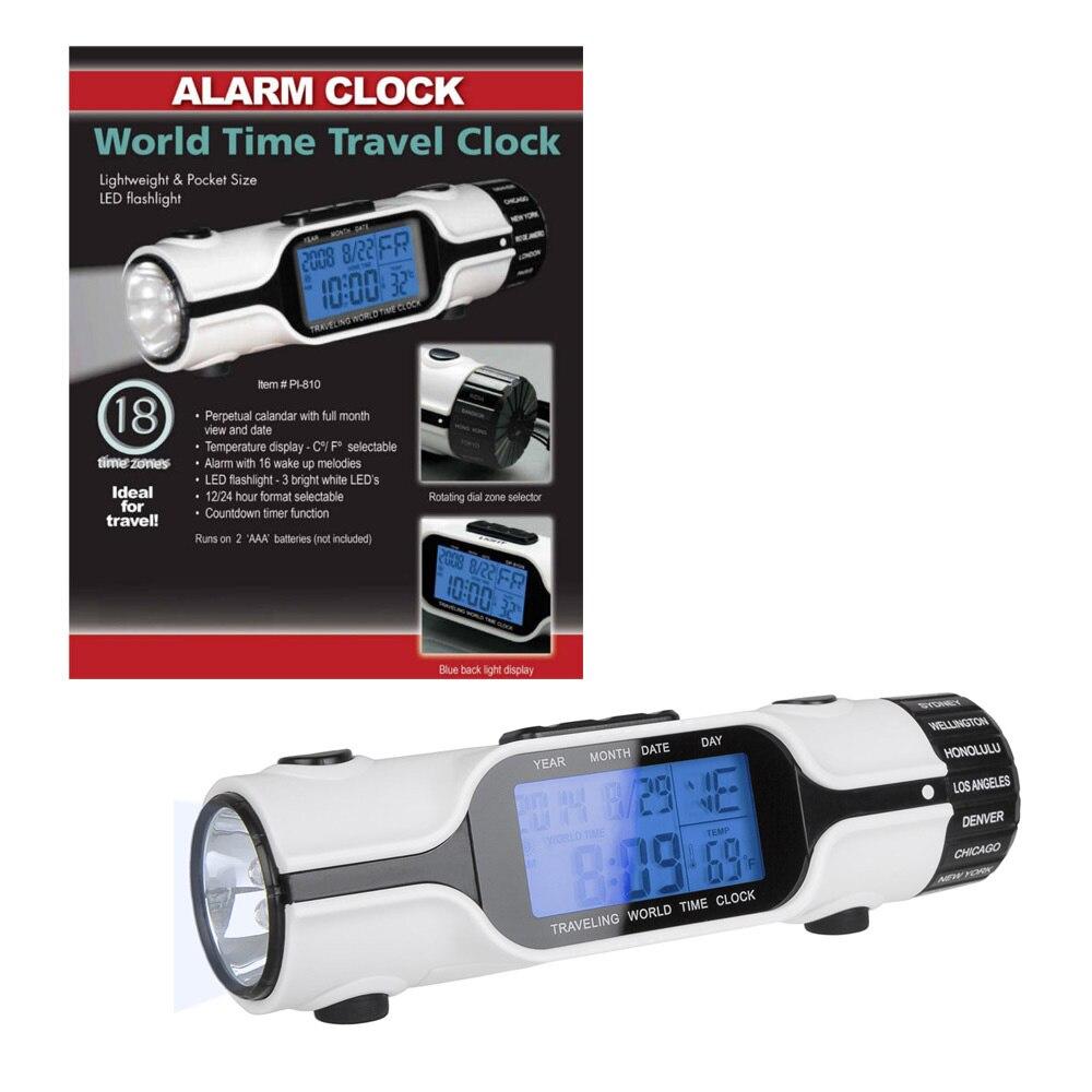 Mylb-мировое Время Будильник путешествия цифровой ЖК-дисплей подсветкой Экран светодиодный фонарик