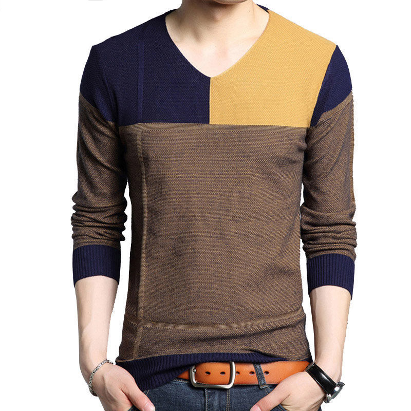 Knitted Sweater Men V Neck Striped Slim Fit Knittwear Casual 2019 Autumn Spring Contrast Color Long Sleeve Pullovers Outwear