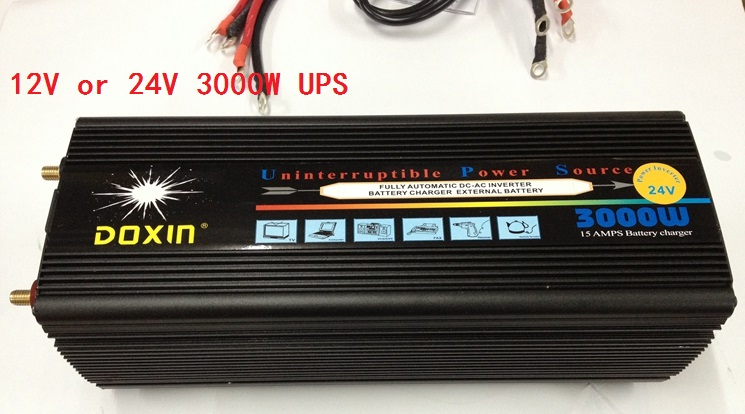 Home DC to AC 3000W 24V to 220V / 12V to 220V modified wave Power Inverter with UPS battery charging function new arrival ups 1000w power inverter with battery charging function for multi devices dc to ac 12v 220v car power inverter