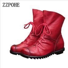 Zzpohe Новинка 2017 года женские Модные Винтажные ботинки из натуральной кожи женские повседневные ботинки на плоской подошве женские мягкие нижней плюс Размеры зимняя обувь