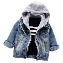 цены Infant Boys Coat 2017 Spring Autumn Baby Boys Jackets For Boys Jeans Jacket Kids Denim Hooded Outerwear Coat Children Clothes