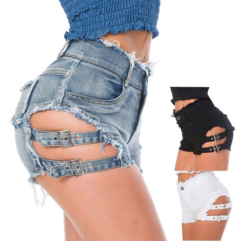 High Waist Sexy Women's Jeans Denim Shorts 2018 Summer Lace-up Ladies Skinny Denim Cotton Broken Hole Super Short Jeans Girls