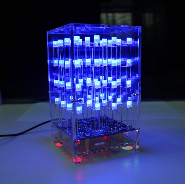 4X4X4 Blue LED Light Cube Parts Kit + Acrylic shell  3D LED DIY Kit for Arduino / 51