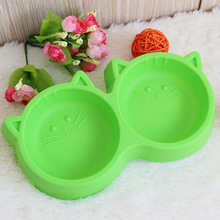 Pet Products Plastic Cat Face Pet Bowl Environmental Protection Non toxic Dog Food Double Bowl Tableware