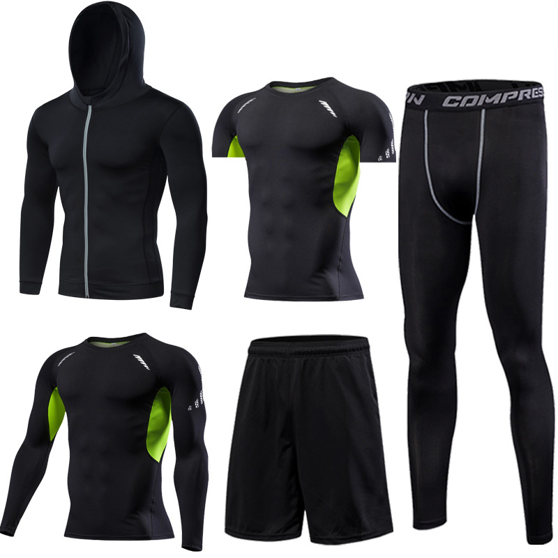 Image 2 - Gym Mens Running Fitness Sportswear Athletic Physical Training Clothes Suits Workout Jogging Sports Clothing Tracksuit Dry Fit-in Running Sets from Sports & Entertainment on AliExpress