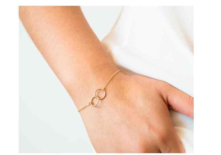 Sl295 doble círculo circular entrelazado pulseras de Metal pulsera de plata de oro redondo femenino encanto joyería círculo pulseras