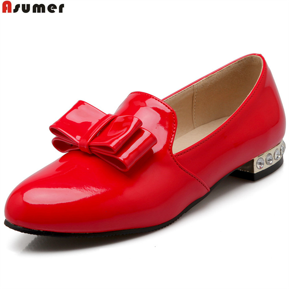 ASUMER Black Red Yellow Fashion Spring Autumn Flat Shoes Woman Round Toe Shallow Casual Women Flats Big Size 34-43