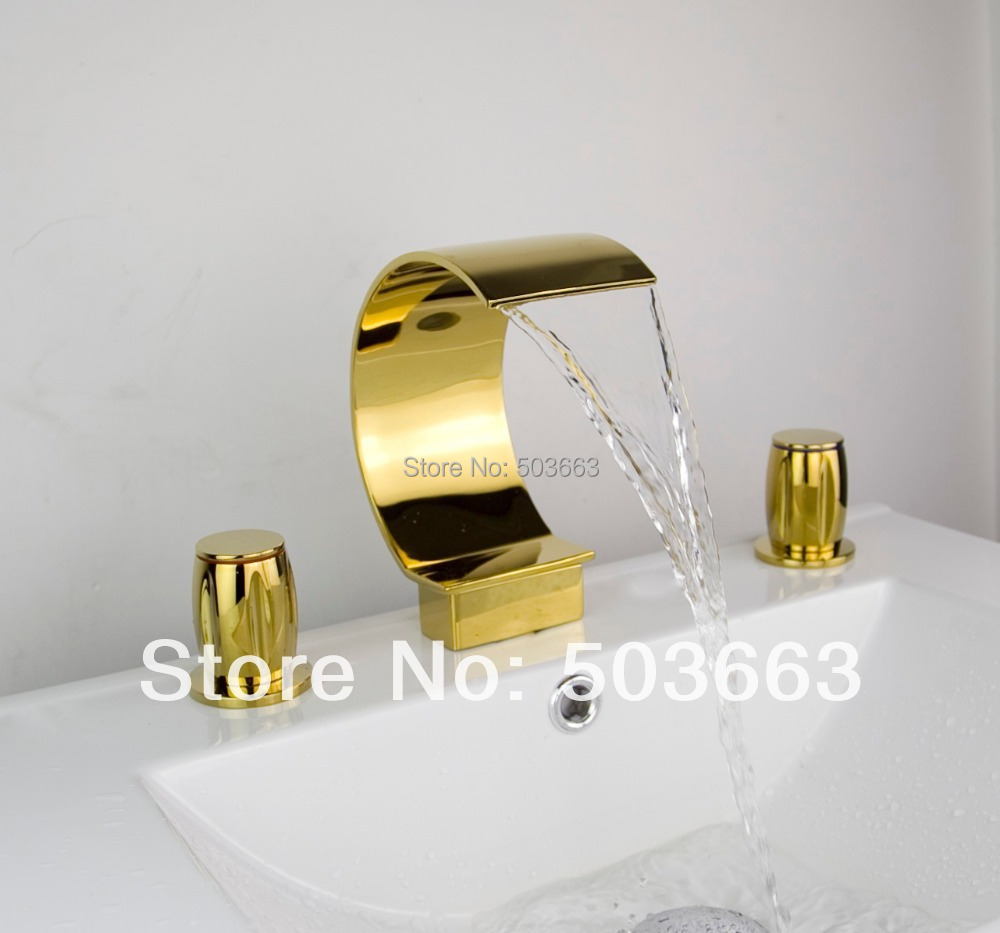 98092/4 Best Waterfall 3 Pieces 2 Lever Bathroom Bathtub Basin Sink Polished Golden Vanity Mixer Tap Deck Mounted Faucet