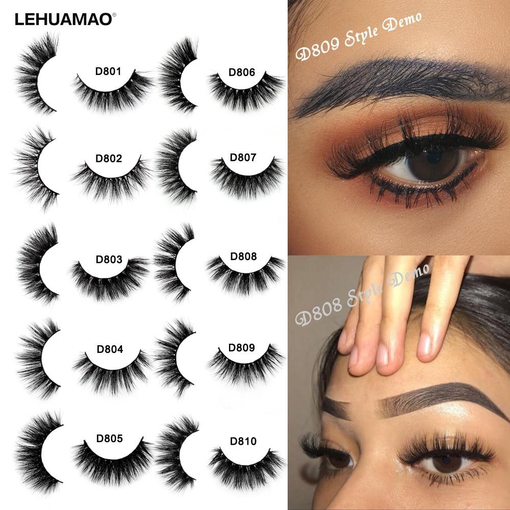 LEHUAMAO Makeup Eyelashes 3D Mink Lashes Thick HandMade Fluffy Lashes Cruelty Free Volume Wispy Soft Lash Reusable False Eyelash