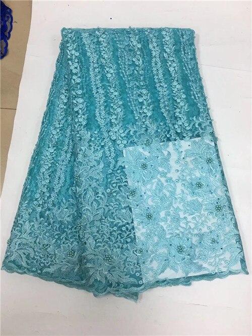 Belo tule tecido de renda líquida africano com contas de alta qualidade tecido laço francês africano para o vestido de casamento yda082 - 6