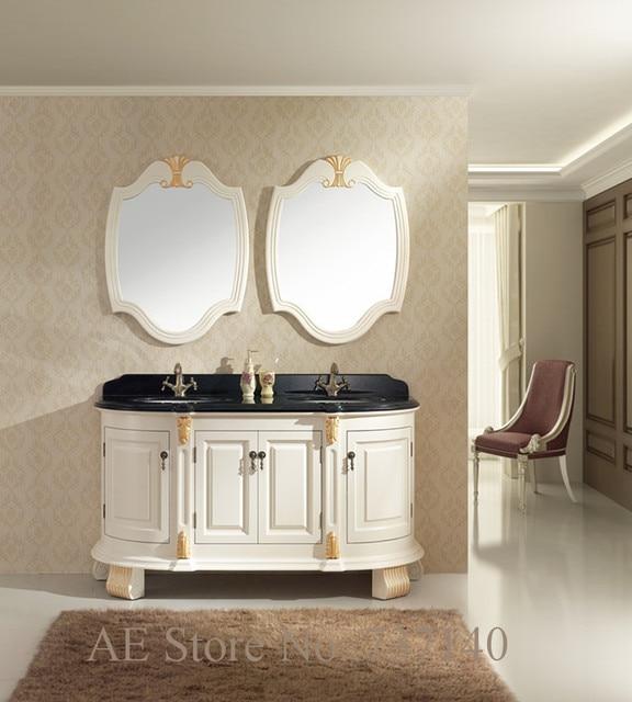 Bianco antico mobiletto del bagno in legno massello mobili doppio ...