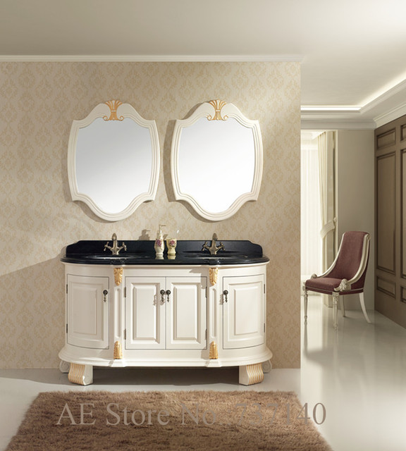 antique white furniture solid wood bathroom cabinet double basin marble top - Antique White Furniture Solid Wood Bathroom Cabinet Double Basin
