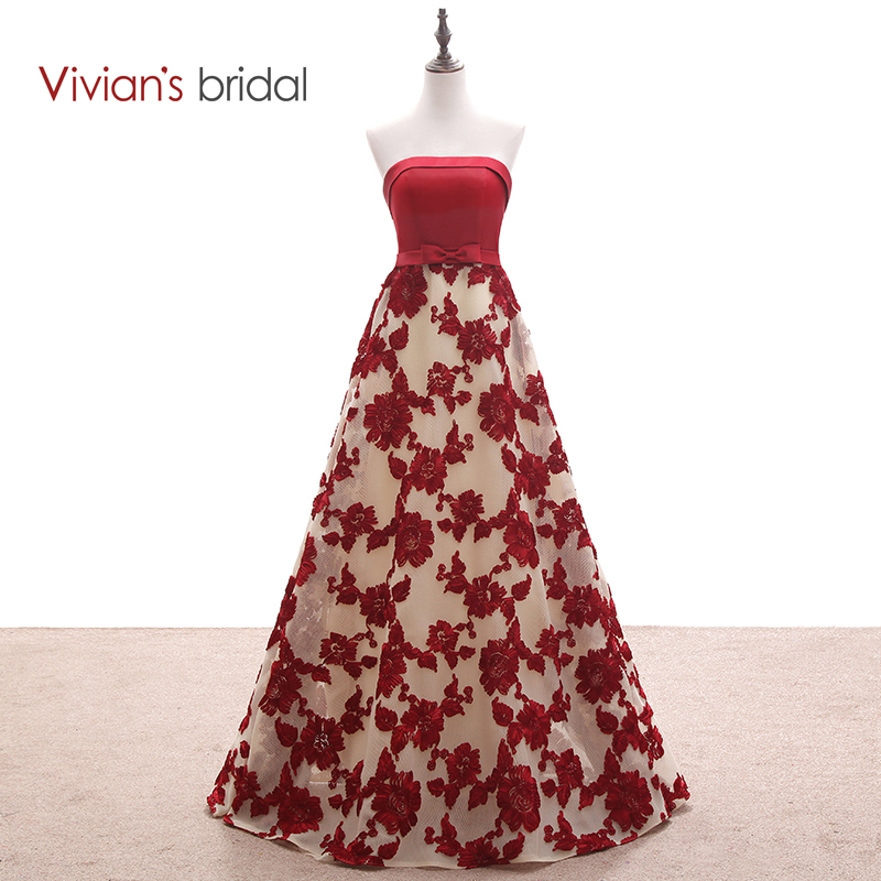 Vivian's Bridal Strapless Sleeveless Burgundy Lace En Line Evening Dress Lång Formell Aftonklänning