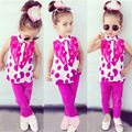 New summer children's clothing set baby girls apparels lace dots t-shirt+pants two pieces Clothing sets kids sweet Clothes suits