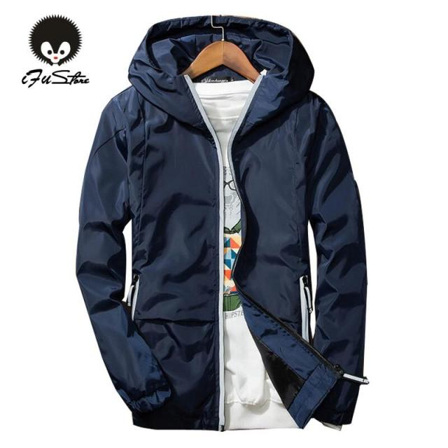 Europe Size M-XXXL Autumn 2016 New hoodies men casual brand fashion style thin Windbreaker solid color jacket men 3colors M-3XL