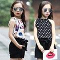 Conjuntos de Roupas meninas Polka Dot Chiffon Coletes & Shorts 2 Pcs Verão Dos Desenhos Animados t-shirts para meninas miúdos roupas 4 5 6 7 9 11 12 anos