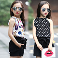 Girls Clothing Sets Chiffon Polka Dot Vests & Shorts 2 Pcs Summer Cartoon T-Shirts For Girls Kids Outfits 4 5 6 7 9 11 12 Years