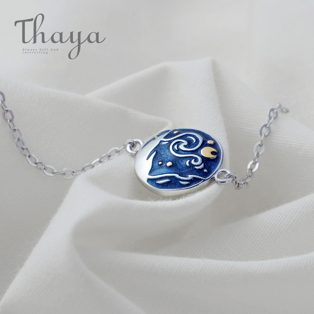 Thaya Van Gogh Enamel Cloisonne Plated Bracelet Star Moon Night Oil Painting s925 Silver Bracelet Jewelry for women gift