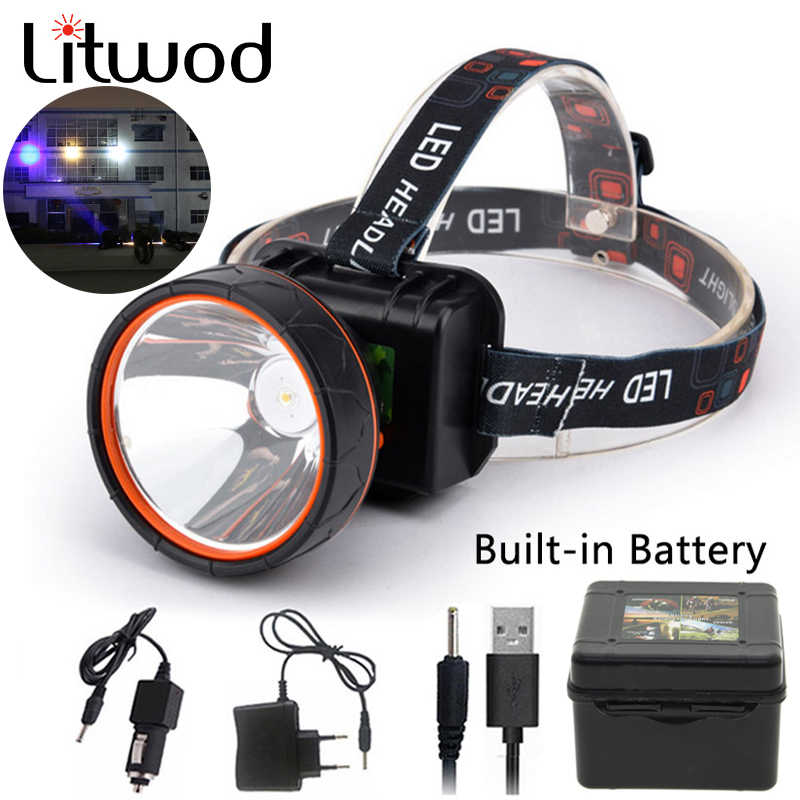 Z20 Litwod T6 Head Light Led Bright Headlamp Head Flashlight LED Headlight Build-in Rechargeable Battery Head Lamp for fishing