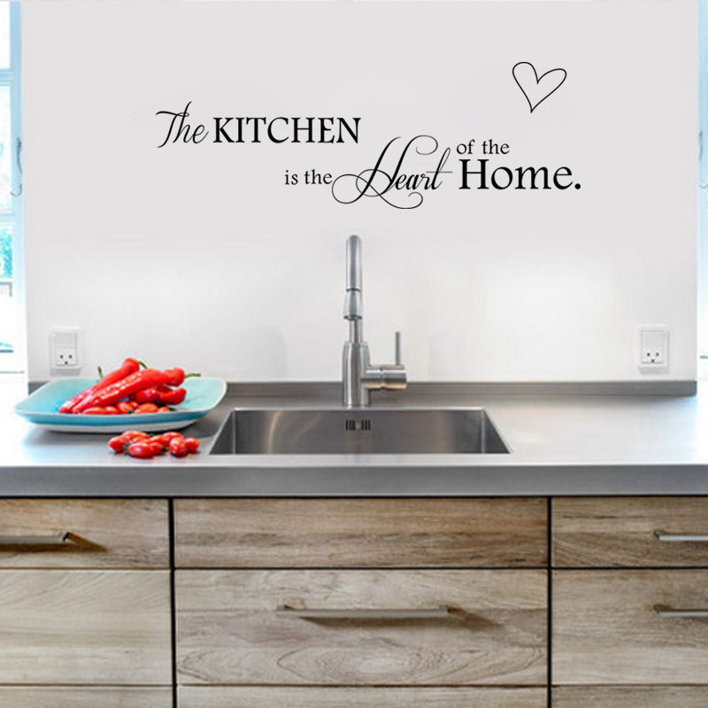 New Kitchen Is Heart Of The Home Letter Pattern Wall Sticker PVC Removable Home Decor DIY Wall Art Wallpaper LW22 in Wall Stickers from Home Garden