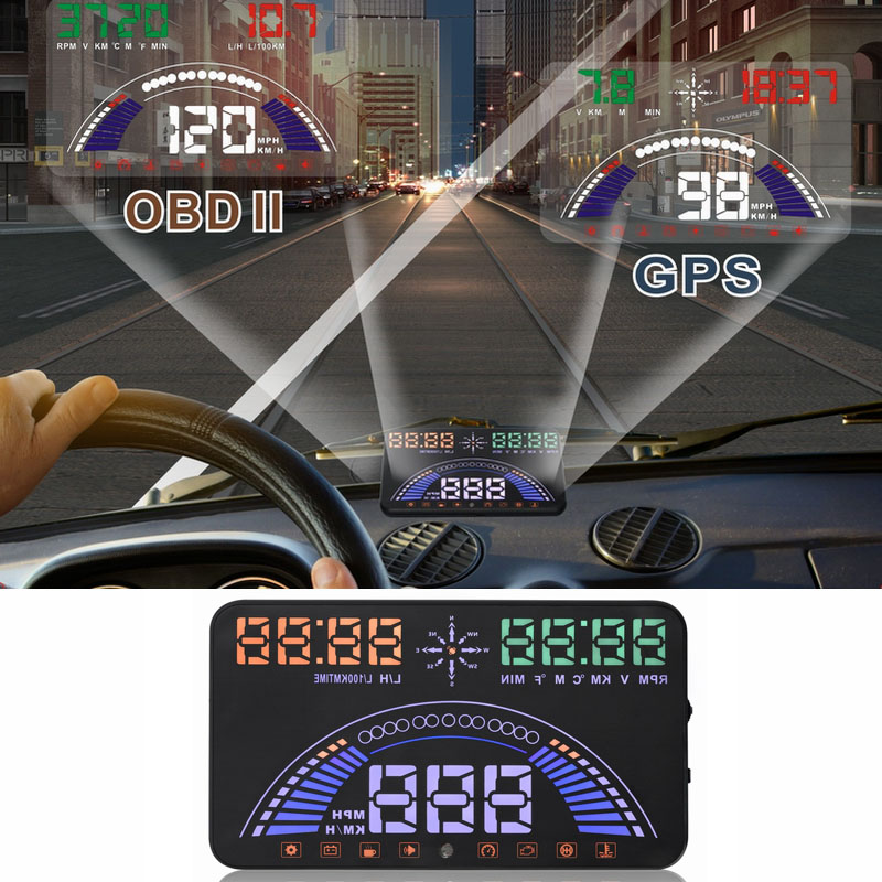 Car electronics 5.8 S7 Digital speed projector Car Head Up Display   GPS Speedometer hud  #iCarmo for cars with OBD2/EUOB universal 3 5 car hud a3 head up display with obd2 interface