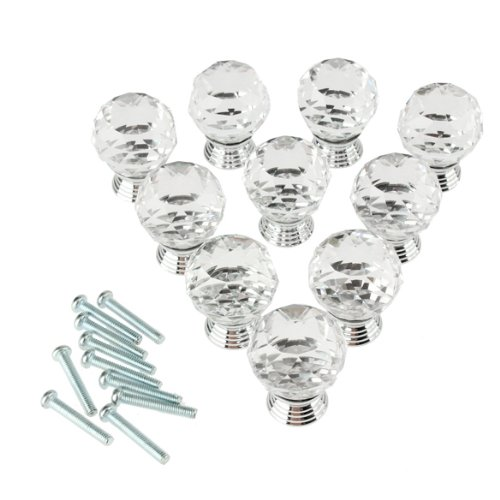 Pack of 10 30mm Crystal Glass Clear Cabinet Knob Drawer Pull Handle Kitchen Door Wardrobe Hardware