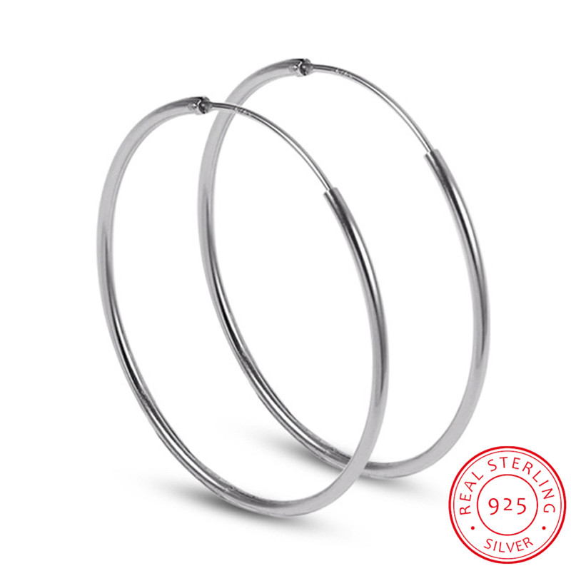 Minimalist 925 Sterling Silver Large Hoop Earrings Female Big Round Circle Buckle Earrings Hoop Ear Rings for Ladies SE134
