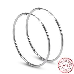 Minimalist 925 Sterling Silver Large Hoop Earrings Female Big Round Circle Buckle Earrings Hoop Ear Rings for Ladies SE134(China)