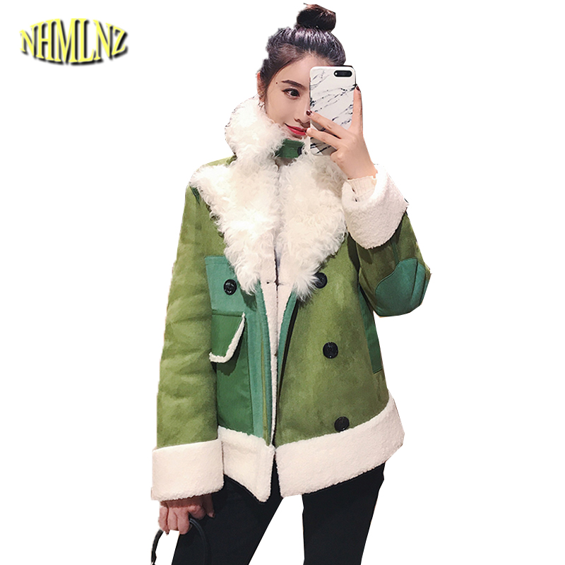 Couleur Femme Manteau Chaud 2019 Green Outwear Épaississent Col Longues À Femmes D'hiver Courte De Dan363 Manches Veste khaki Patchwork Fourrure Irrégulière 4nWZax5n
