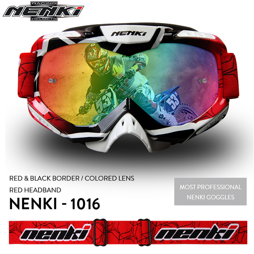 NENKI Men Women Motocross Off-Road Dirt Bike ATV DH MX Googles Motorcycle Racing Eyewear Skiing Snowboard Glasses, Colorful Lens