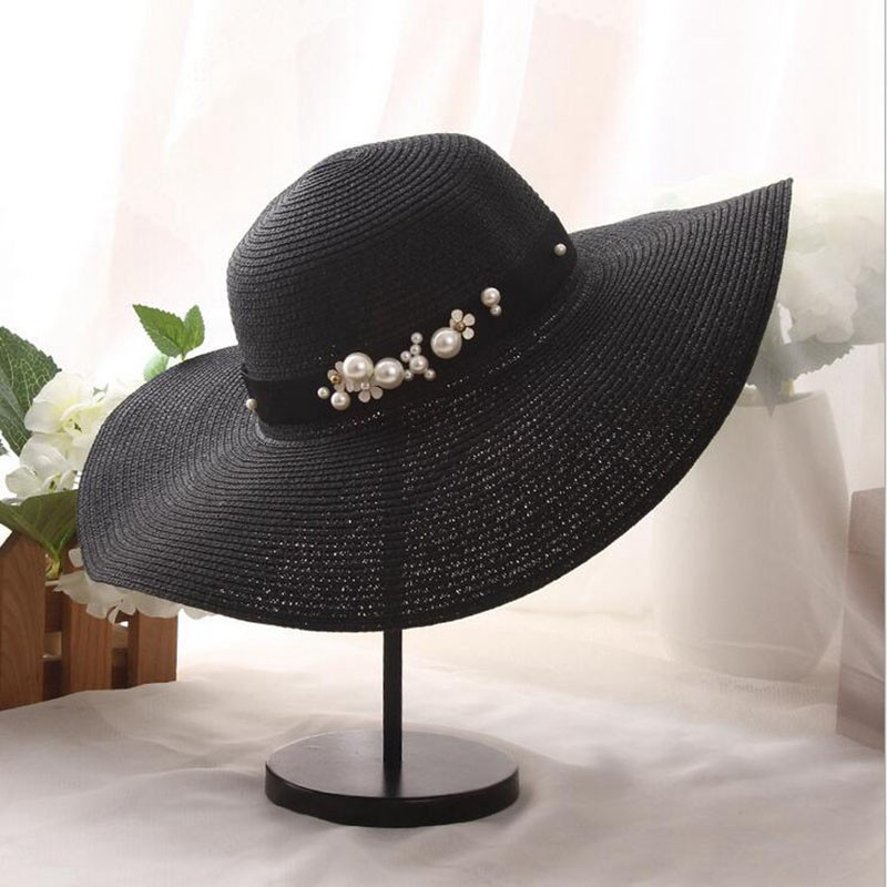 2018 summer Fashion flat brim straw hat pearl beading fedoras womens sun-shading sunscreen jazz Panama hat outdoor beach hat