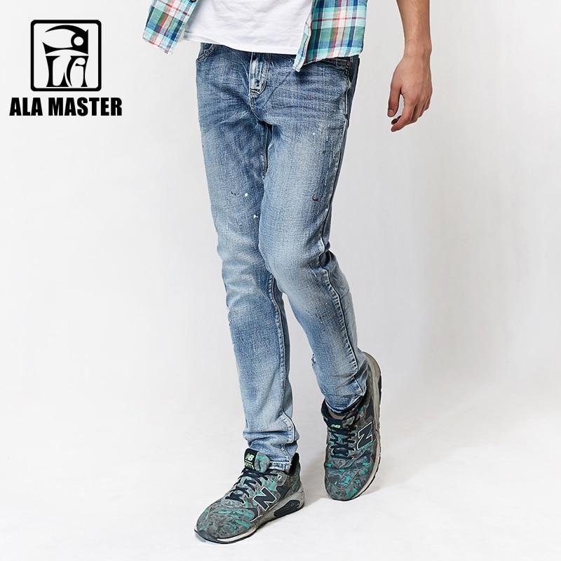 A LA MASTER Casual Summer Jeans Man Splash ink Wash White Denim Jeans Pants Men Autumn Cotton Spandex Mens Pants